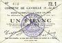 Banknotes Gavrelle (62). Commune. Billet. 1 franc 22.8.1915