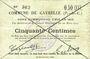 Banknotes Gavrelle (62). Commune. Billet. 50 cmes 20.3.1915