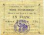 Banknotes Goeulzin (59). Commune. Billet. 1 franc du 31.1.1915, 4e série A