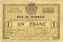 Banknotes Halluin (59). Ville. Billet. 1 franc 27 8bre 1914, sans numérotation