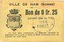Banknotes Ham (80). Ville. Billet. 25 centimes