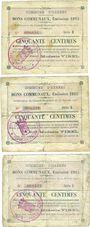 Banknotes Harnes (62). Commune. Billets. 50 cmes (3 ex variés) 20.2.1915, série E
