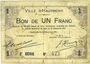 Banknotes Hautmont (59). Ville. Billet. 1 franc 14.12.1914, 2e série
