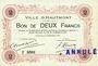 Banknotes Hautmont (59). Ville. Billet. 2 francs 14.12.1914, 2e série, Spécimen
