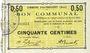 Banknotes Haynecourt (59). Commune. Billet. 50 centimes 29.8.1915