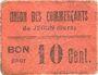 Banknotes Jegun (32). Union des Commerçants. Billet. 10 centimes