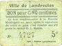 Banknotes Landrecies (59). Ville. Billet. 5 centimes