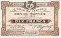 Banknotes Lannoy (59). Ville. Billet. 10 francs, 4e série, essai, sans numérotation. Annulation manuscrite