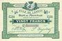 Banknotes Lannoy (59). Ville. Billet. 20 francs, 3e série, essai, sans numérotation. Annulation manuscrite