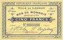 Banknotes Lannoy (59). Ville. Billet. 5 francs, 2e série, essai, sans numérotation. Cachet Spécimen