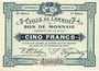 Banknotes Lannoy (59). Ville. Billet. 5 francs, 3e série, essai, sans numérotation. Annulation manuscrite