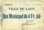 Banknotes Laon (02). Ville. Billet. 0,50 franc 30.6.1915, 4e émission