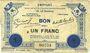 Banknotes Le Quesnoy (59). Emprunt garanti par la Ville..., Billet. 1 franc novembre 1914