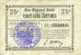 Banknotes Le Verguier (02). Commune. Billet. B.R.U., 25 cmes