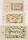 Banknotes Lens (62). Decrombecque (raffineur). Lot de 3 billets, 1, 5 et 10 francs 15.10.1870, non émis