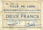Banknotes Lens (62). Ville. Billet. 2 francs 14.11.1914