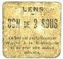 Banknotes Lens (62). Ville. Billet. 2 sous. Au revers, cachet rouge de la Banque de France avec le n° 8213