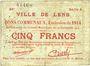 Banknotes Lens (62). Ville. Billet. 5 francs 14.11.1914, série A