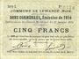 Banknotes Lewarde (59). Commune. Billet. 1 franc 24.11.1914, série E
