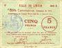 Banknotes Liévin (62). Ville. Billet. 5 francs 31.1.1915, série B