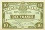 Banknotes Lille (59). Ville. Billet. 10 francs 13.7.1917, série M