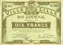 Banknotes Lille (59). Ville. Billet. 10 francs 31.8.1914, série E