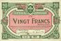 Banknotes Lille (59). Ville. Billet. 20 francs 13.7.1917, série T