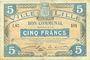 Banknotes Lille (59). Ville. Billet. 5 francs 11.4.1917, série I