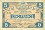 Banknotes Lille (59). Ville. Billet. 5 francs 28.11.1916, série R