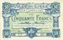 Banknotes Lille (59). Ville. Billet. 50 francs 28.11.1916, série Y