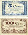 Banknotes Lille (59). Ville. Billets. 5 cmes, 10 cmes 31.10.1917, série C