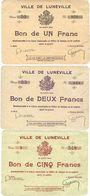 Banknotes Lunéville (54). Ville. Série de 3 billets. 1 franc série 20, 2 francs série 25, 5 francs série 9