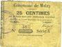 Banknotes Malzy (02). Commune. Billet. 25 centimes 20.6.1915, série A