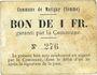 Banknotes Matigny (80). Commune. Billet. 1 franc