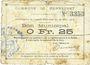 Banknotes Mennevret (02). Commune. Billet. 25 centimes 30.3.1915