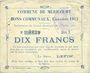 Banknotes Méricourt (62). Commune. Billet. 10 francs 7.2.1915, série B