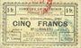 Banknotes Meurchin (62). Commune. Billet. 5 francs 10.5.1915, série B, annulation au dos par cachet rond