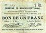 Banknotes Monchecourt (59). Commune. Billet. 1 franc 15.12.1914