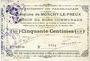 Banknotes Monchy-le-Preux (62). Commune. Billet. 50 cmes 24.10.1915, 3e série