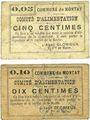 Banknotes Montay (59). Commune. Comité d'alimentation. Billets. 5 centimes, 10 centimes