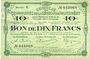 Banknotes Montmédy (55). Syndicat de Communes de la région de Montmédy. Billet. 10 francs 14.1.1918, série U