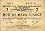Banknotes Montmédy (55). Syndicat de Communes de la région de Montmédy. Billet.2 francs 5 et 7.7.1916, série C
