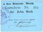 Banknotes Moosch (68). Commune. Billet. 10 mark (1914-1915). Carton bleu. Cachet communal français