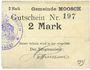 Banknotes Moosch (68). Commune. Billet. 2 mark (1914-1915). Carton blanc. Cachet communal français