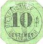 Banknotes Mouvaux (59). Ville. Billet. 10 centimes, cachet rond