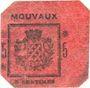 Banknotes Mouvaux (59). Ville. Billet. 5 centimes, rouge, cachet sur 2 lignes
