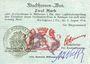 Banknotes Mulhouse (68). Ville. Billet 2 mark 31.8.14 surchargé 2. Cachet all. nouveau noir. Signature Woeffl