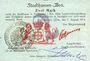 Banknotes Mulhouse (68). Ville. Billet 2 mark 31.8.14 surchargé 2. Cachet all. nouveau noir. Signé J.Hunte(?)