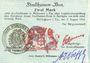 Banknotes Mulhouse (68). Ville. Billet 2 mark 31.8.14 surchargé 2. Cachet allemand nouveau noir. Signé Woeffl