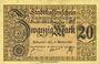 Banknotes Mulhouse (68). Ville. Billet 20 mark 15.10.1918. Annulation au revers par cachet « ANNULÉ »
